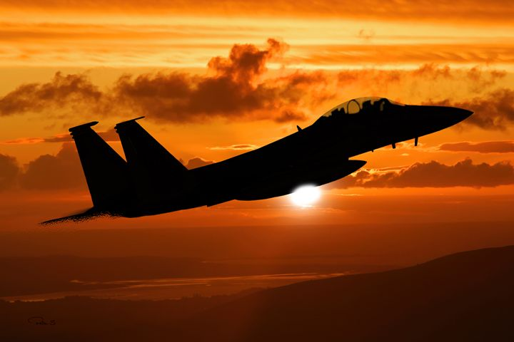 F-15 Eagle Sunset - psdigital art