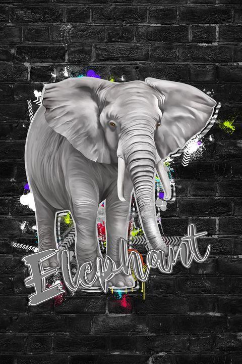 Graffiti Elephant Gray Color - Deepak Creation