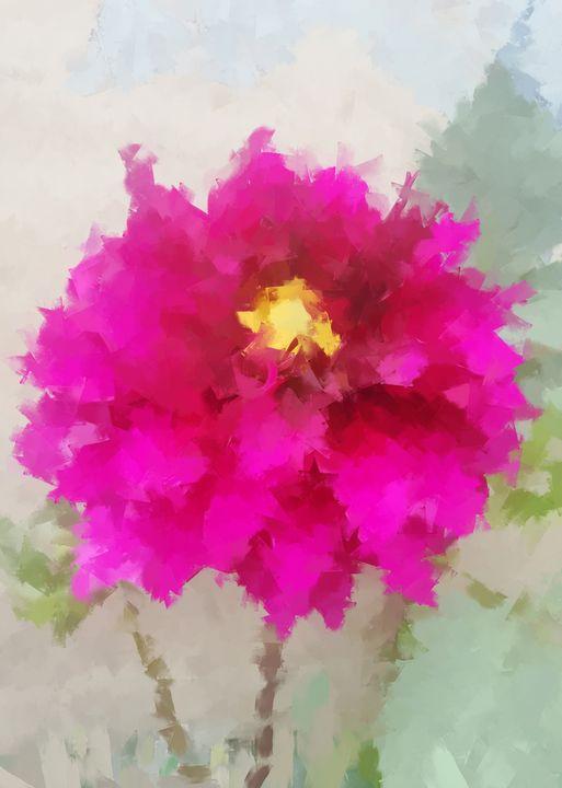 Dahlia Flower Painting - Deepak Creation