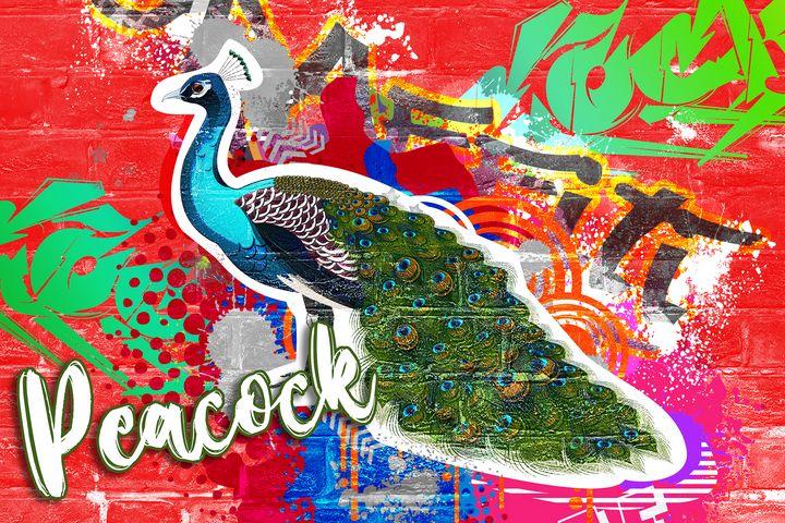 Peacock Graffiti - Deepak Creation