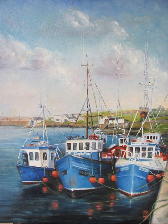 Fishing Trawlers in Wicklow Harbour. - Hilary Long