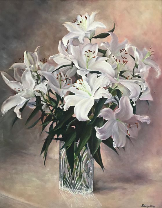 Lilies in cut glass vase. - Hilary Long