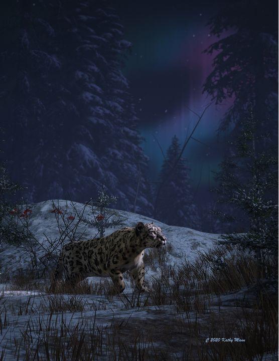 Snow leopard and northern lights - Media Free Spirit