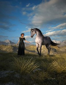 Woman with grey horse