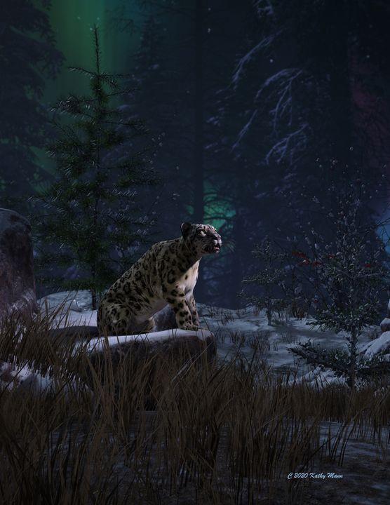 Snow Leopard on Rock Ledge - Media Free Spirit