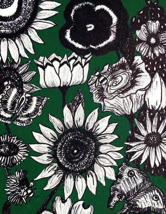 Butterflies, Bees and Flowers #1 - Art by Pamela