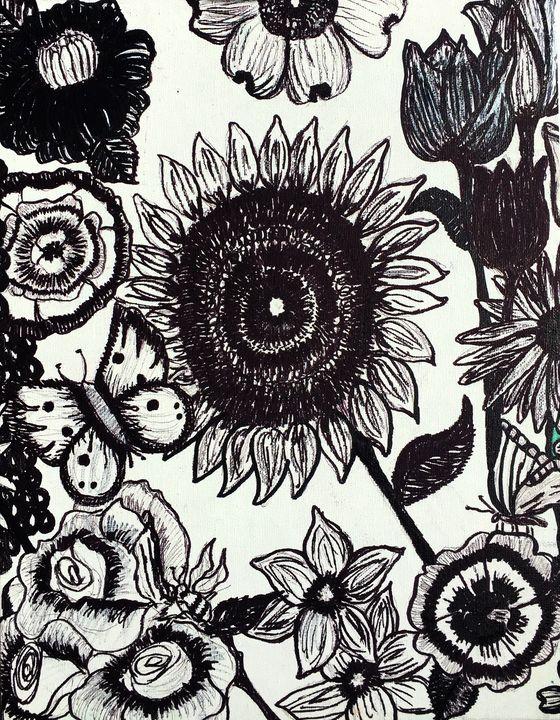 Butterflies, Bees, and Flowers #2 - Art by Pamela