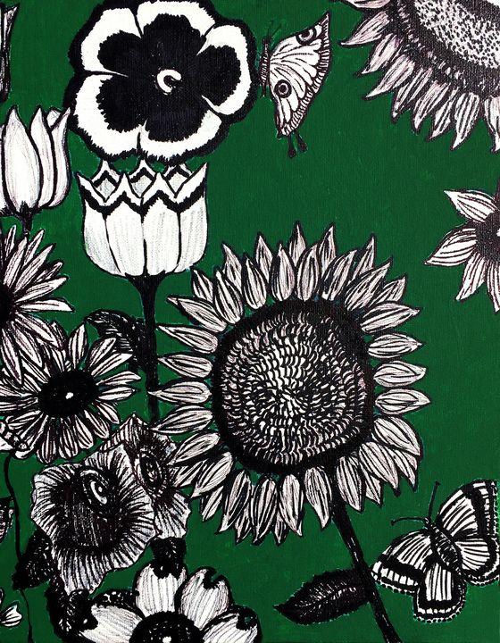 Butterflies, Bees and Flowers #3 - Art by Pamela