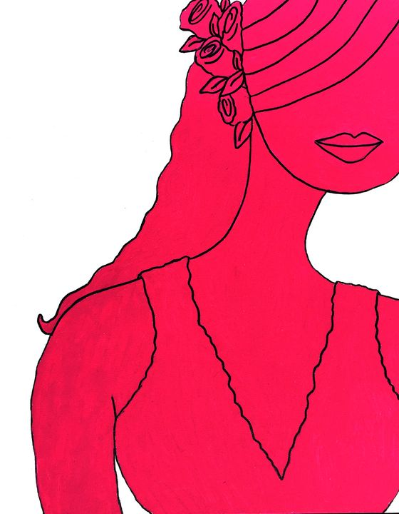 Pink Roses in Her Hair - Art by Pamela