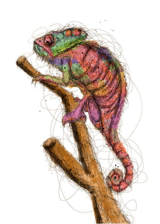 chameleon scribble art - izmo scribbles
