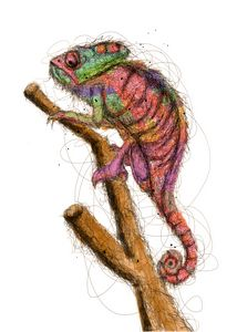 chameleon scribble art