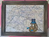 ORIGINAL PAINTING OLD MAPS
