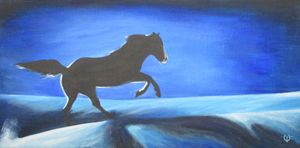 Galloping Horse on Blue Snow