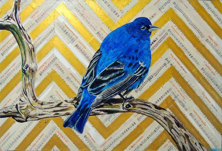 Original Acrylic - Singing Blue Bird - Brittany Forrest