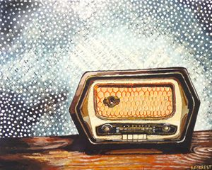 "Original Acrylic ""Antique Radio"""