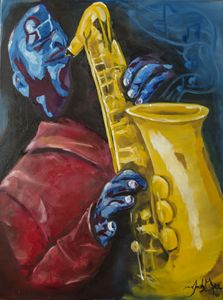 Sax Player in Red