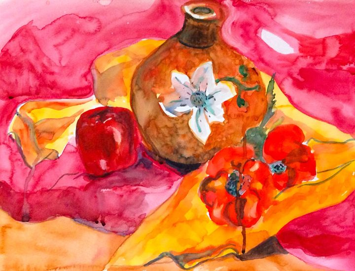 Still Life in Red and Orange - Lara's Art