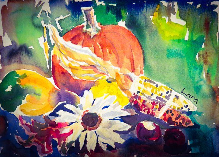 Still life of pumpkin and flowers - Lara's Art