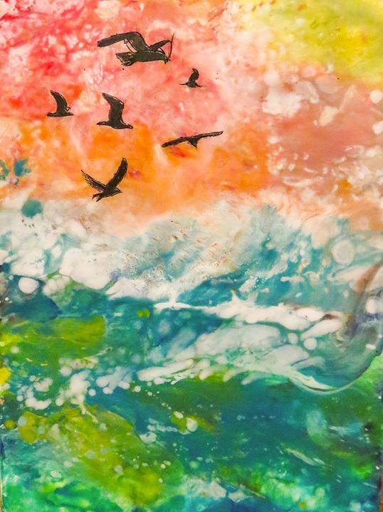 Seagulls over Sea - Lara's Art