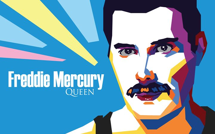 Freddie Mercury of Queen (Pop Art) - M. Rezha Sudiar WPAP