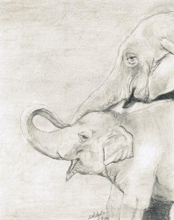 Elephants - Drawing on Love by Gretchen Saule
