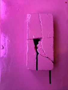 Pink Brick With Black Drip