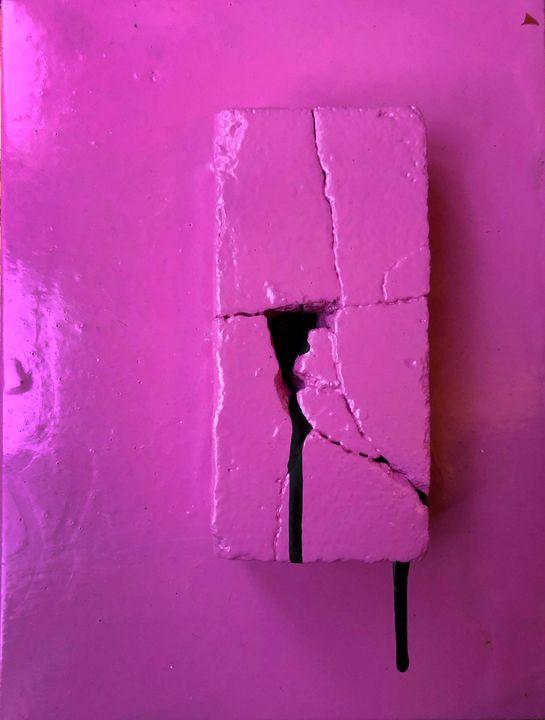 Pink Brick With Black Drip - Sledgehammer Painting