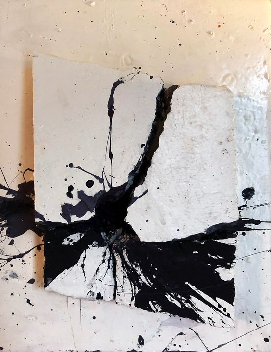 Black Hit on White Concrete - Sledgehammer Painting