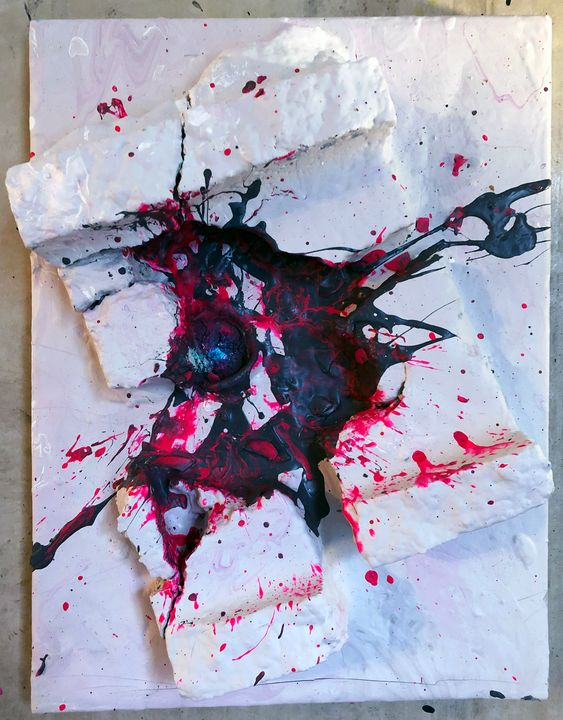 Grey and Pink Explosion on Concrete - Sledgehammer Painting