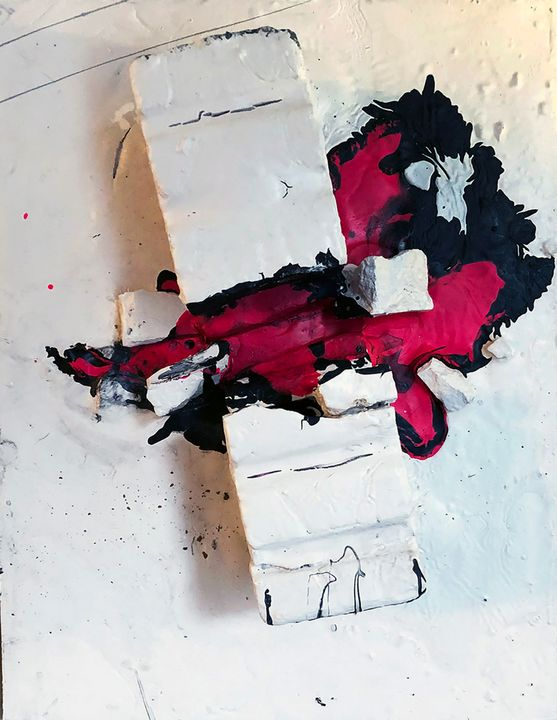 Brick Smashed Open Leaking Pigment - Sledgehammer Painting