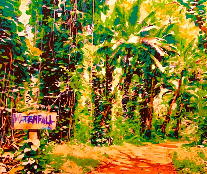 Hawaii Waterfall Rainforest Path - 'Artists Aflame' Family Gallery