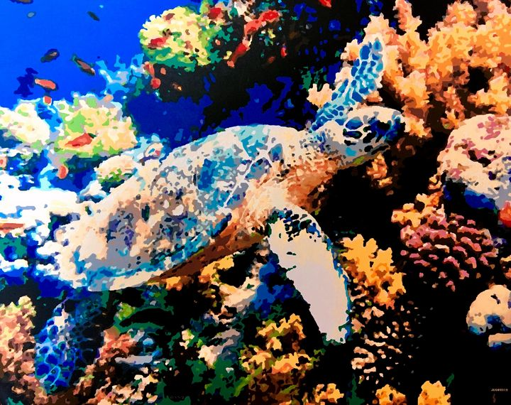 Turtle and Ocean Reef - 'Artists Aflame' Family Gallery