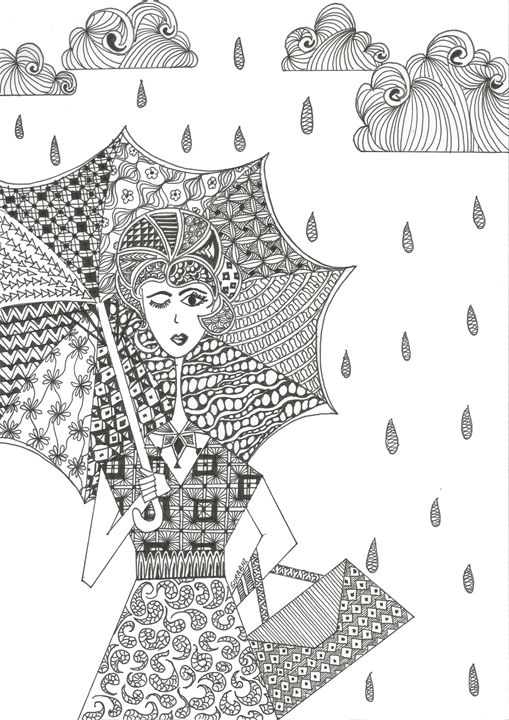 Walking in d Rain - Intricale Ink