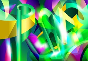 GREEN-ACID Cubism Abstract Digital A