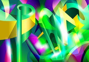 GREEN-ACID Cubism Abstract Digital A