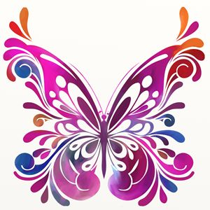 colorful butterfly girly design
