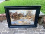 Abstract Wooden Framed Painting