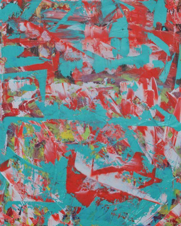 JMM: Vermillion and Aqua - Moyle's Abstract Fine Art