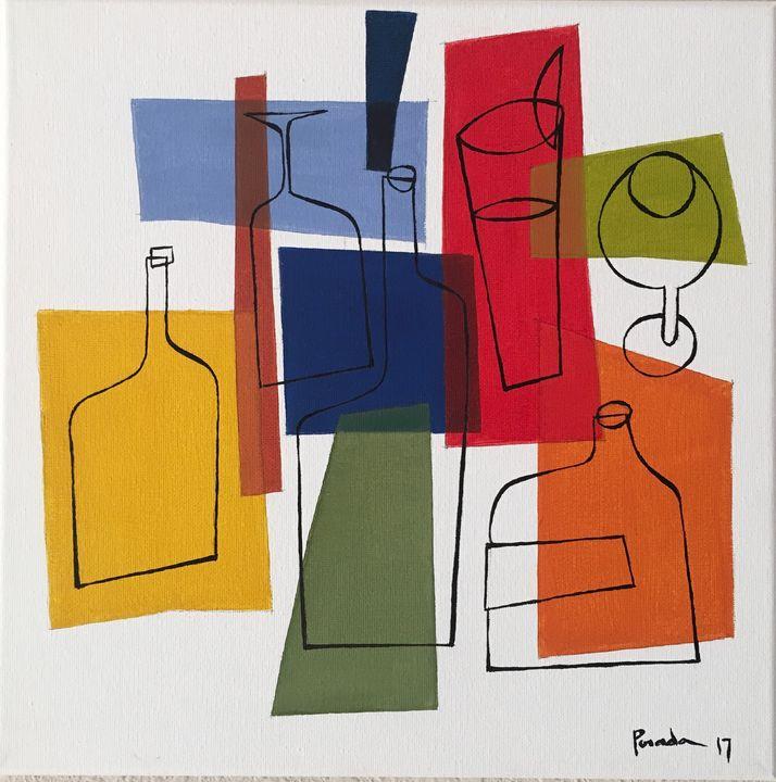 Bottles and Glasses - Aurelio Posada