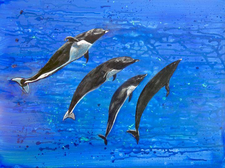 Chilean Dolphin Family - Shari Riepe