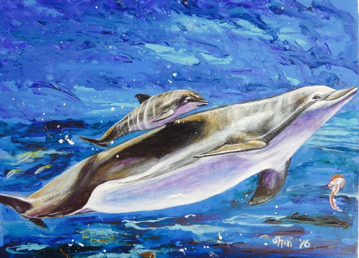 Mommy Dolphin with her Baby Dolphin - Shari Riepe