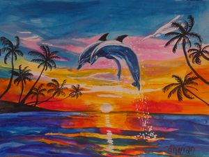 Acrobatic Florida Dolphins at Sunset