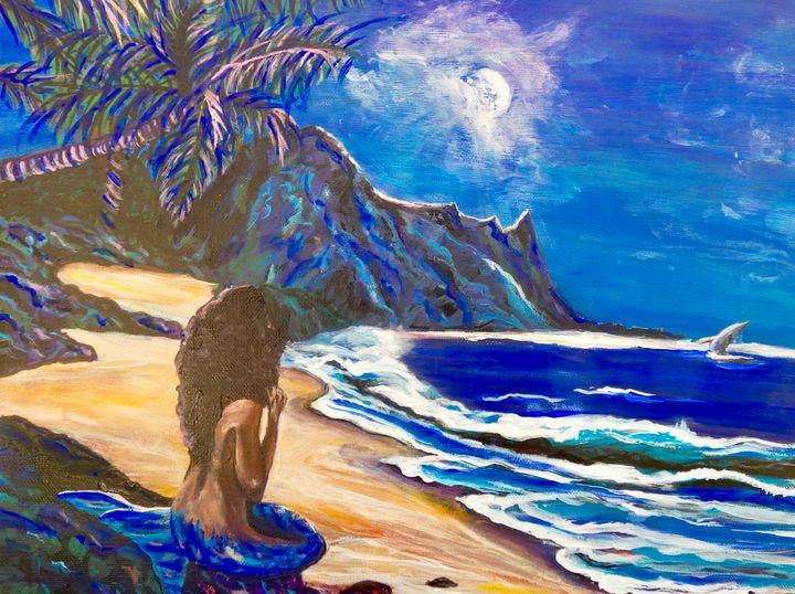 Mermaid Watching Dolphin - Shari Riepe