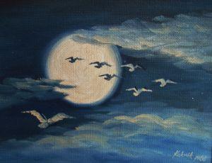 Moon and birds farewell