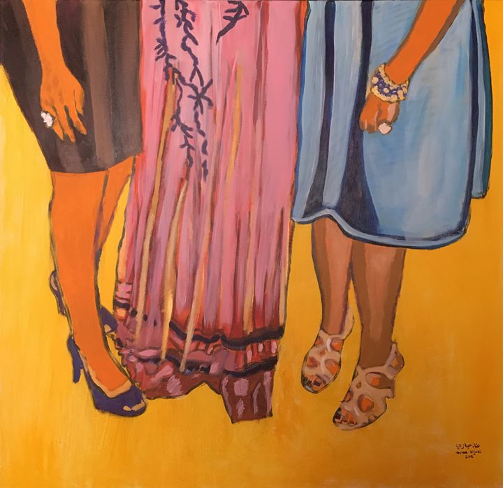 Three women standing - hanaa hijazi