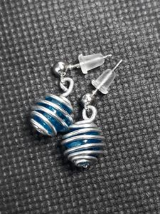 Blue bead with silver wire