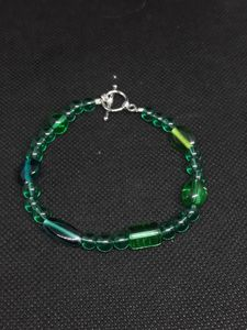 Clear Green and teal bracelet