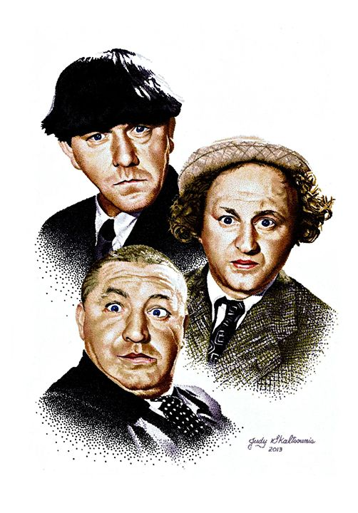 The Three Stooges - Pointillism Art by Judy