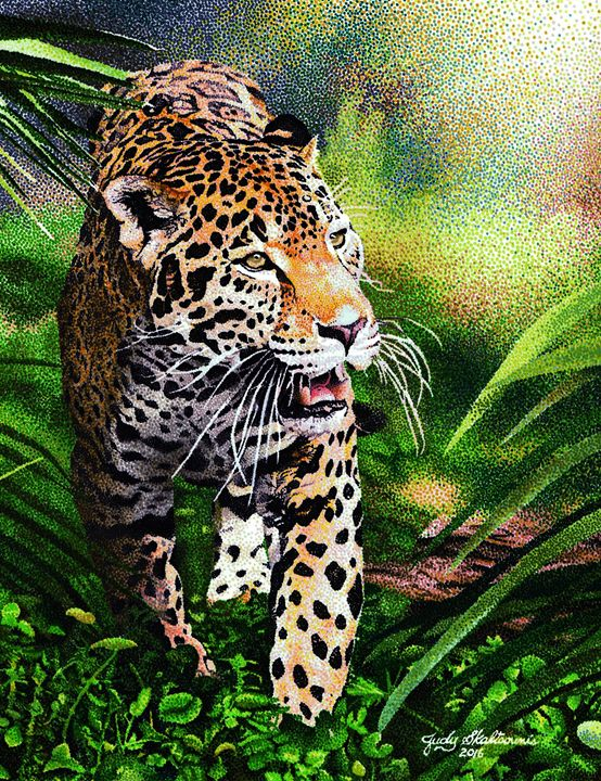 Leopard prowl - Pointillism Art by Judy