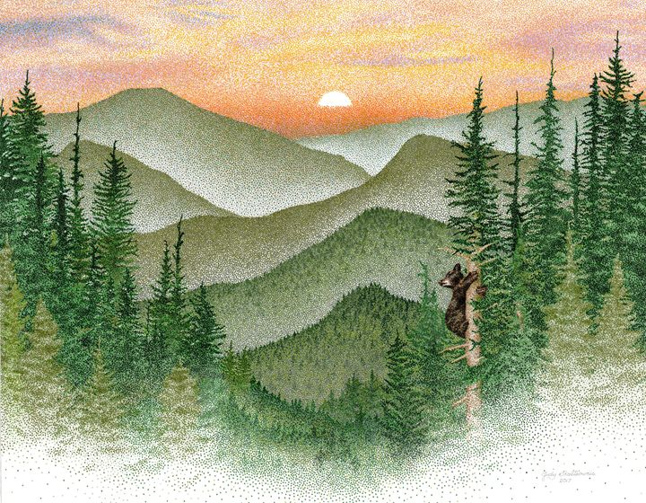 Northern woods - Pointillism Art by Judy
